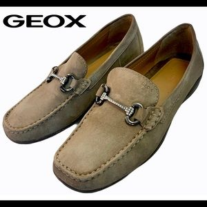 Geox Brown Taupe Suede rhinestone buckle loafer